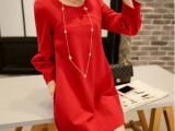 批发外贸早春女装新款韩版短裙韩版圆领立体拼接红色宽松连衣裙子