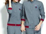 8162# 2014秋装 新款情侣装 休闲运动套装韩版时尚格子套