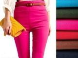 糖果色铅笔裤小脚裤 弹力高腰九分打底裤 女装