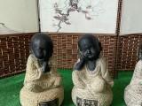 石雕小沙彌擺件,小和尚禪意家居裝飾品廠家