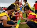 珠行万里u型槽高山流水能量传输 团队活动趣味运动会拓展游戏道