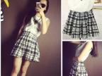 韩版女装2014夏装新款雪纺背心+百搭格子短裙 套装 送项链夏季女
