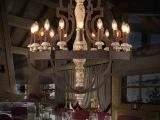 Loft北欧美式乡村复古木头大吊灯酒店别墅饭店灯饰 客厅大厅灯具