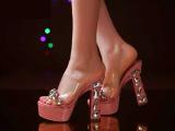 春夏新款 韩版女拖鞋粗高跟水钻鞋防水台凉拖鞋坡跟中跟厚底鞋