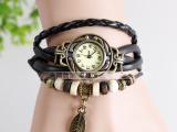 正品欧美韩版时尚复古手链表树叶手表手工编织表波西米亚风女表