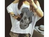 欧美莫代尔斑马纹骷髅头露肩T恤 女 夏中长款蝙蝠衫宽松大码上衣