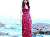 2014春夏新款波西米亚露背裙 V领吊带连衣裙 沙滩 长裙 拖地