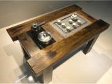 老船木家具 老船木功夫茶桌 板岩泡茶桌椅组合
