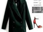 N8318 2014爆板 秋冬双排扣中长款多色修身毛呢大衣 外套
