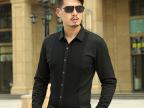 2015年春装新款男式衬衫青年男装长袖衬衣男纯黑条纹时尚厂家直销