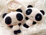 纯手工 可爱珍珠绒红脸害羞情侣小熊猫 手机挂件