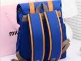新款韩版双肩包8804 时尚休闲旅游双肩背包 新款配皮帆布包电脑