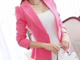2015春装新款长袖小西装女外套韩版修身荷叶边女短款糖果色