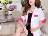 2015新款休闲西装外套短款小西服中袖修身女式OL职业套装