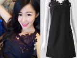 2015夏季新款左岸潇同款水溶黑色蕾丝吊带连衣裙一件代发