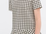 2014夏季新款ZARA复古黑底白格纹印花显瘦短裤休闲裤 女