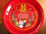 加盟一件代发 新郎新娘大红喜庆 结婚糖果水果盘 圆托盘