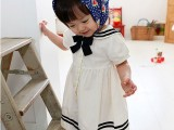 童裙 女童学院风连衣裙 海军黑白公主裙XQZ004