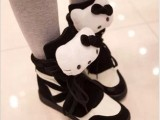 Hello Kitty 猫 春夏款高帮休闲鞋系带运动鞋 内增高潮