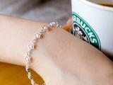 韩国饰品 花朵手链镀银 925纯银手链 非洲欧美外贸批发 支持混