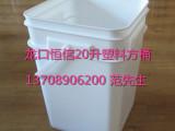供应龙口恒信20升/20公斤塑料桶方桶食品级水桶化工桶