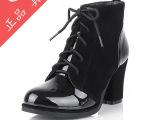 2013新款韩版粗高跟女士皮靴单靴英伦风格系列马丁鞋批发