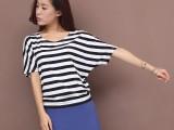 6元夏季新款 韩版条纹蝙蝠大码宽松打底衫棉短袖t恤 女装批发