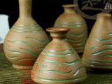 JA35景德镇楚瓷陶瓷花瓶 手工雕刻粗陶