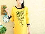 韩国孕妇装批发 时尚孕妇卫衣秋冬装2014新款猫头鹰孕妇上衣
