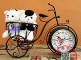 现代时尚田园创意座钟/铁艺术三轮车花篮台钟/双面静音卧室时钟表