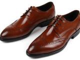 外单皮鞋时尚尖头花头男式正装皮鞋系带低帮纯皮打造欧美风格37码
