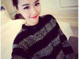 韩国毛衣订单 冬季人气亮丝条纹侧拉链宽松中长款圆领针织衫