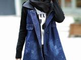2014冬季新款拼接中长款大码牛仔女式风衣外套 牛仔风衣批发H1