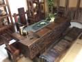 老船木家具 海螺螺孔茶台 龙骨泡茶桌 厚重粗矿