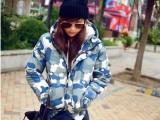 冬装新款 军绿色大衣迷彩羊羔绒帽子短款情侣款棉外套小棉衣 女装