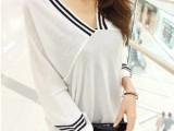 2015秋装新款黑白条韩版女装宽松蝙蝠袖V领薄款套头针织衫罩衫