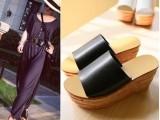 潮品道2014新款夏季欧美小辣椒坡跟木纹真皮鞋垫一字拖鞋