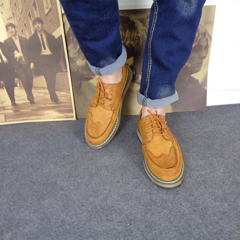 男鞋春季英伦男士皮鞋青年皮鞋软面布洛克雕花男鞋商务休闲皮鞋