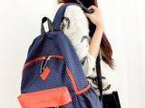 新款韩版小波点猪鼻子 帆布包学生旅行双肩包书包后背包