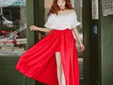 2015夏季一字领露肩蕾丝雪纺上衣半身开叉裙两件套装甜美连衣裙
