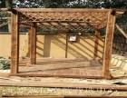 房山别墅私家花园绿化 防腐木葡萄架 铁艺 钢结构阳光房