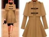 欧美站2013新款时尚奢华毛呢女装大衣 立领斗蓬冬款毛呢风衣外套
