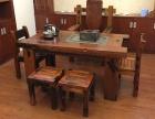 老船木机舱木茶桌 带船舵中山船木家具工厂定做