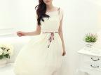 夏装2015新款韩版吊带背心雪纺连衣裙 波西米亚系带沙滩长裙