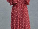 新款欧美外贸原大牌花园街NO19飞飞荷叶袖红色波点雪纺连衣裙