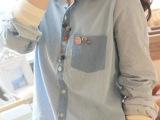 日系森女风牛仔波点点 个性多彩扣 翻领中性休闲长袖衬衫