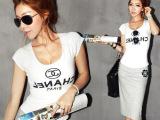 2014夏装新款韩版潮女装紧身u领短袖t恤性感夜店修身衫