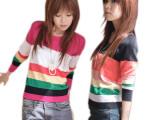 厂家供应 爆款韩版女装跑量款珍珠扣两面穿彩条时尚针织衫