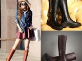 欧洲站真皮女靴 欧美长靴时尚流苏过膝靴 粗跟马丁靴厂家直销靴子