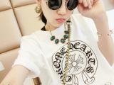 批发 2014夏季韩版l女装 厚版克罗心打底 字母印花短袖克罗心
